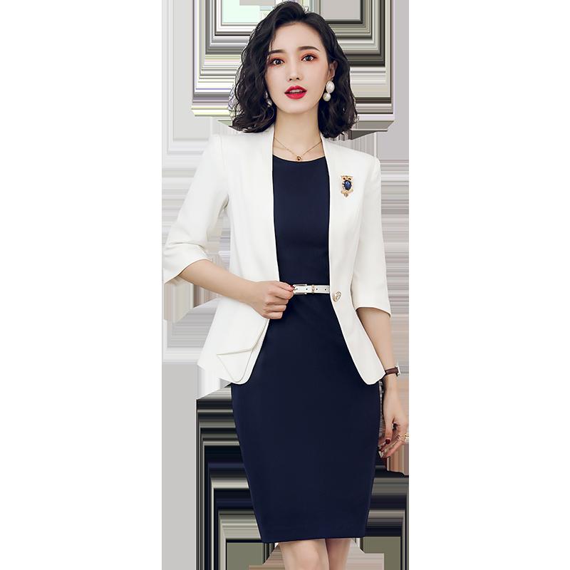 全家免運 商務套裝首選 OL深藍色圓領顯瘦洋裝  白色西裝 套裙  制服 團體