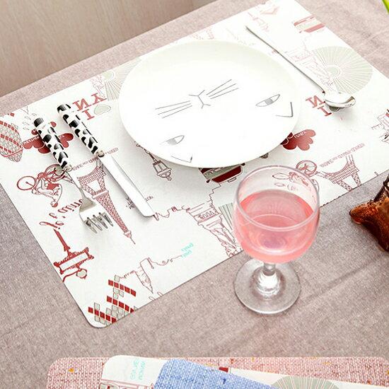 ♚MY COLOR♚仿麻雙面印花餐墊 防水 歐式 餐桌 西餐 防滑 隔熱 易清洗 廚房 用餐 風格【L182】