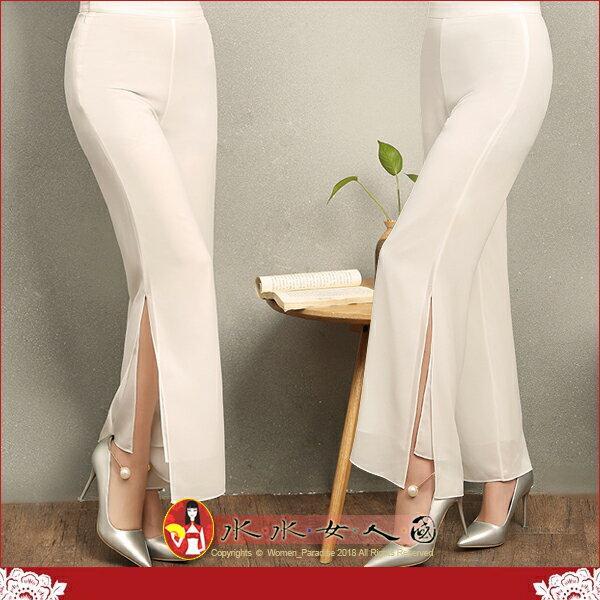 【水水女人國】~如詩如畫~另人驚豔。藝術極品中國風美穿在身~白鈴。復古純淨白色改良式時尚飄逸雙層雪紡開衩長褲