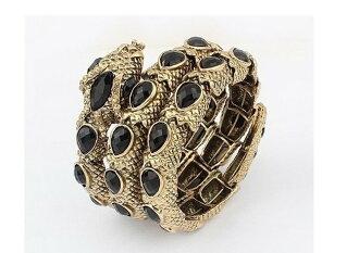 歐美朋克復古蛇形鑲彩鑽大寶石手鐲甜美氣質手環飾品 女性佩戴