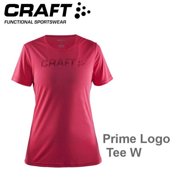 【速捷戶外】瑞典CRAFT1904342女LOGO短袖圓領排汗衣(桃紅)PrimeLogoTeeW,跑步,路跑,登山,排汗T