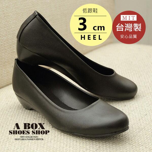 【AP518】素面皮革霧面漆皮小坡跟包鞋娃娃鞋 低跟鞋 OL 上班族 台灣製 2色