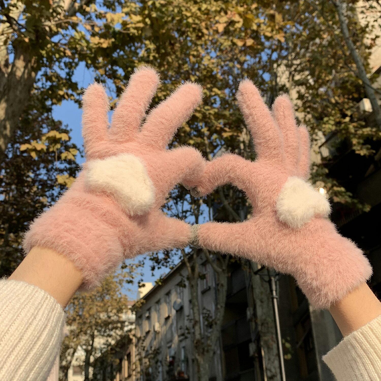 秋冬加絨保暖觸屏手套甜美少女韓版可愛針織毛線分指騎行防寒學生1入