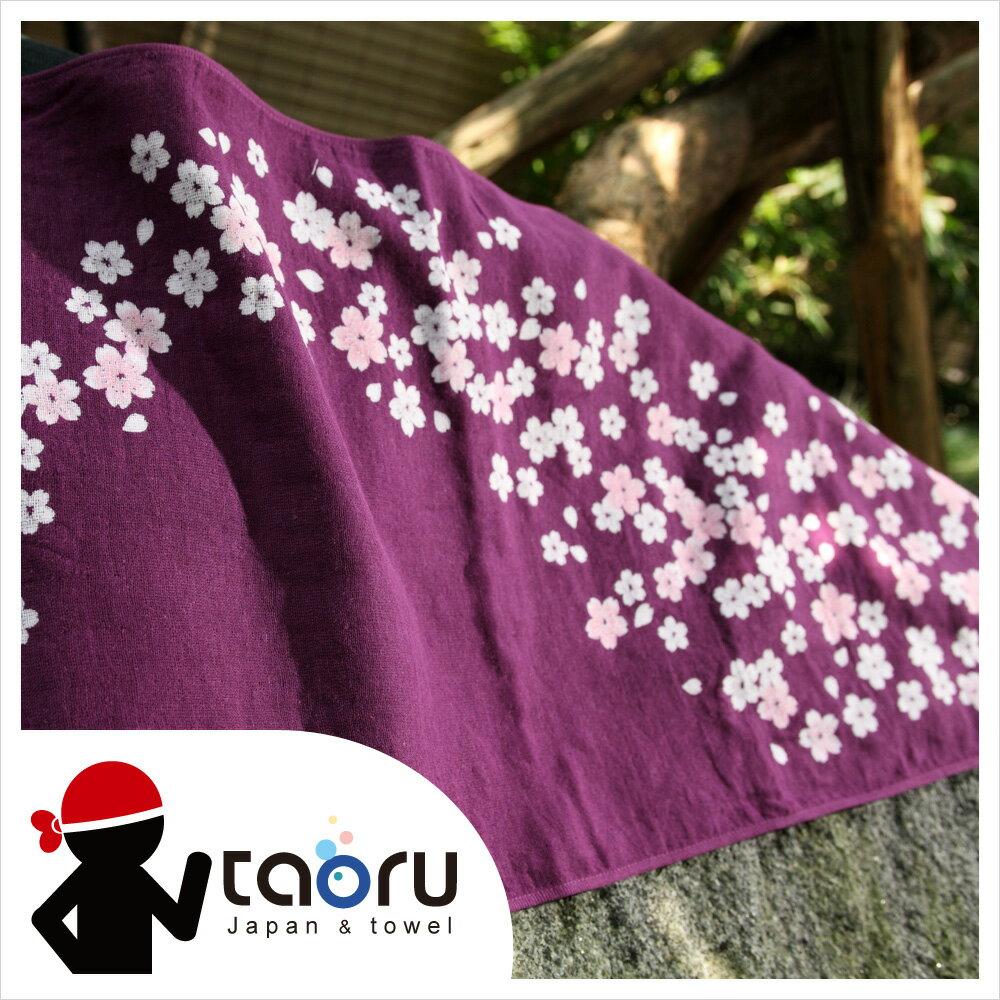 日本運動毛巾 : 櫻吹雪 (印花) 34*95 cm (長毛巾 頭巾 運動巾 -- taoru 日本毛巾)