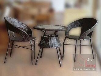 【尚品傢俱】※自運價※ Q-881-09 悠活 塑膠藤休閒桌椅組(桌子+椅子*2)/庭院休憩桌椅組/戶外桌椅組
