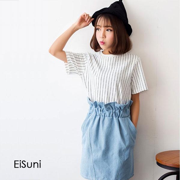 ☆EiSuni☆韓甜美運動風條紋短T+花苞口袋牛仔裙套裝 三色 【12915017】