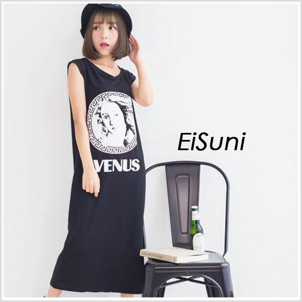 ☆EiSuni☆韓時尚字母人像印花無袖背心長版洋裝 二色 【42015006】
