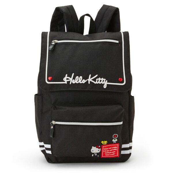 【真愛日本】18042400114寬口後背包-KT黑ACK三麗鷗凱蒂貓kitty後背包書包後背