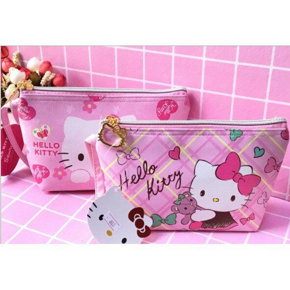 2個起售銷售可愛hello kitty手提化妝包手機包零錢包 PUKT貓頭拉鍊粉色手拿化妝包零錢包時尚化妝包大容量化妝包