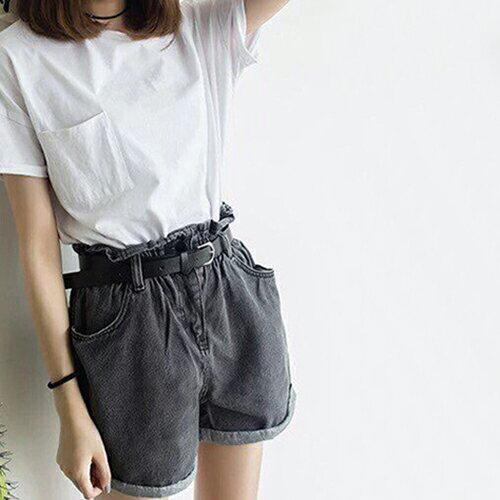 花苞高腰款鬆緊腰牛仔短褲(4色S~XL)*ORead* 0