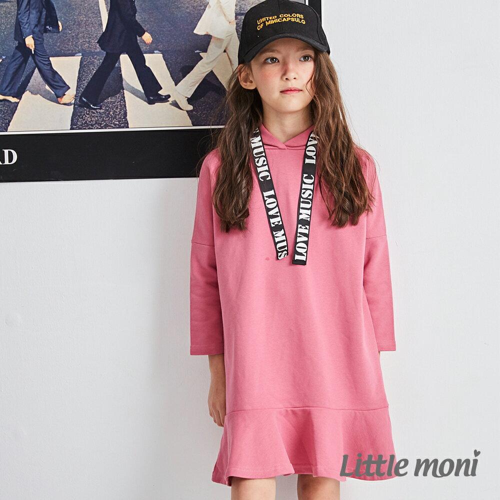 Little moni 織帶連帽洋裝-熱情粉(好窩生活節) 1