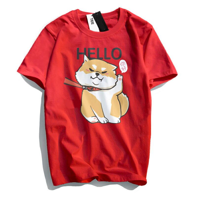 KUSO 搞笑 情侶裝 純棉短T MIT台灣製【YC686-17】萌寵 HELLO 你好 柴犬  動物萌寵 快速出貨 4