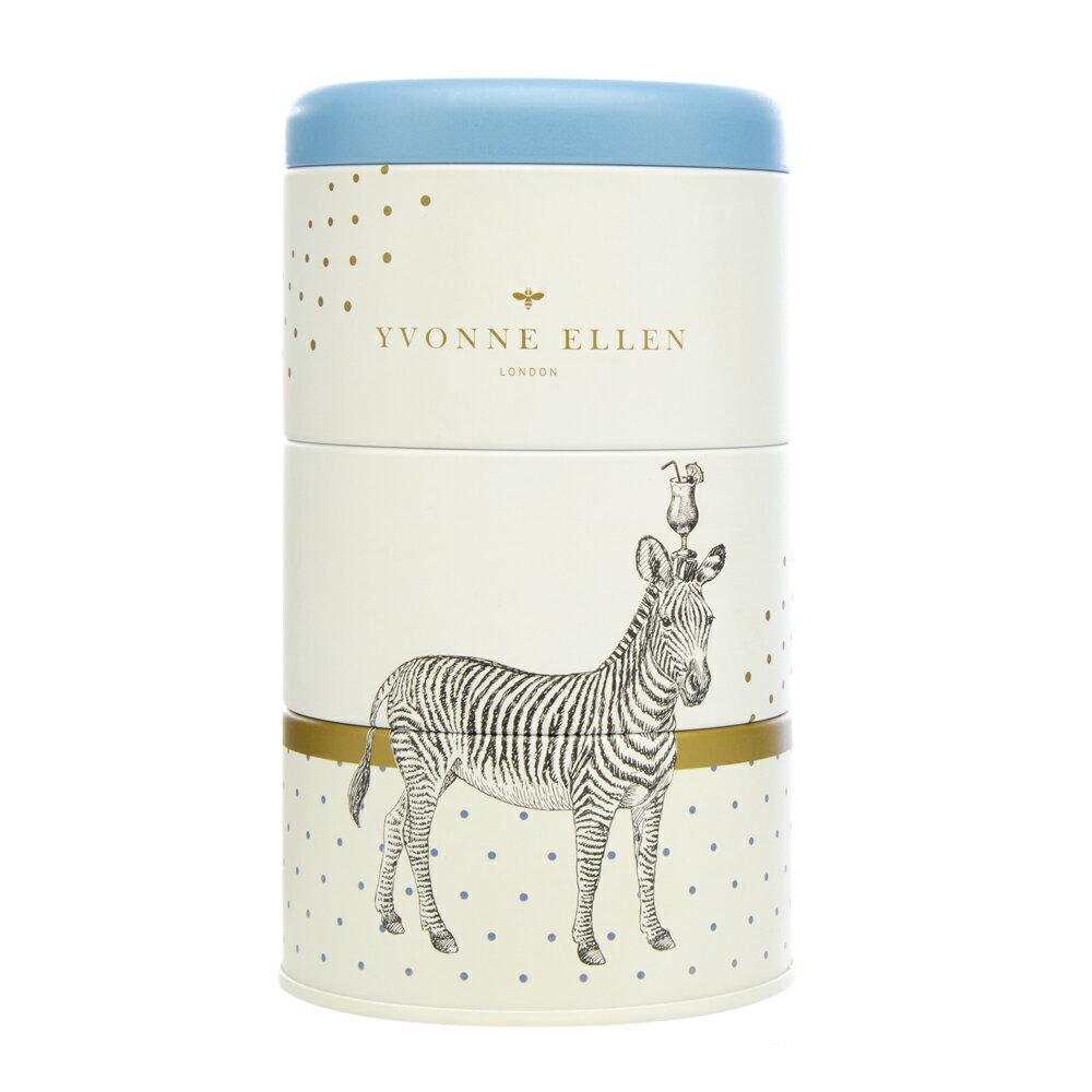 英國Wax Lyrical  動物饗宴YVONNE ELLEN三層蠟燭禮盒-野生動物之夜 (斑馬)