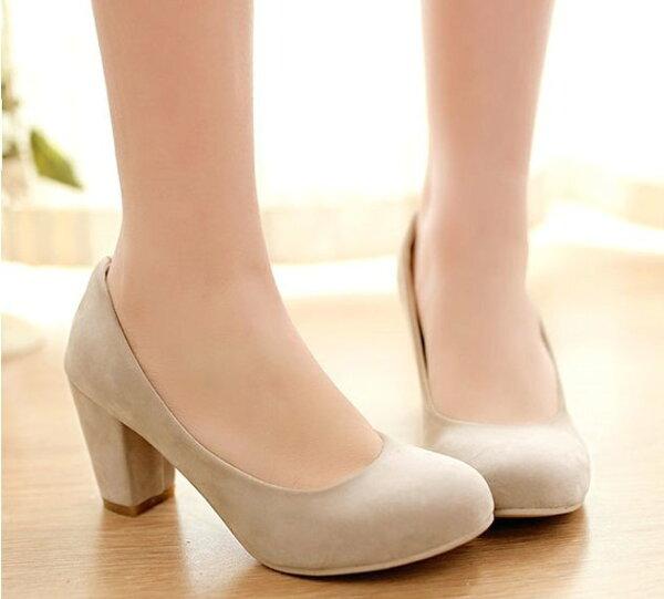 Pyf♥素面粗低跟絨面圓頭超穩高跟鞋加大47大尺碼女鞋