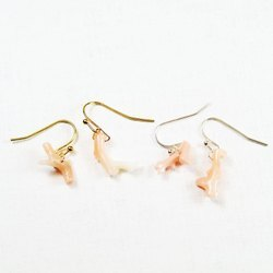【藏金湖】粉色小珊瑚耳環金銀兩款|夾式耳環針式耳環可換純銀針|天然粉珊瑚|黃銅鍍銀.18K金|天然石耳環,中國古風飾品E14