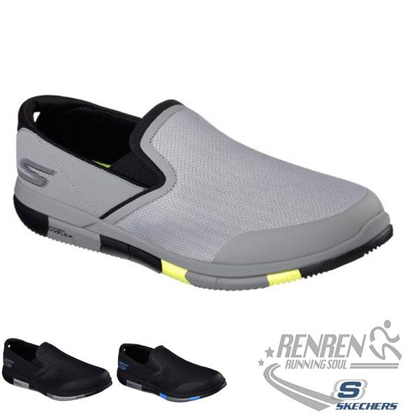 SKECHERS 男健走鞋 GO FLEX WALK (灰黃) 懶人鞋 運動鞋