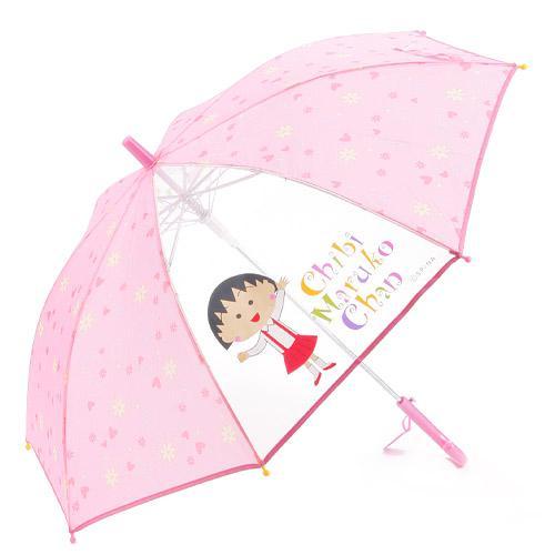 『日本代購品』櫻桃小丸子 透明窗雨傘 55CM 粉色