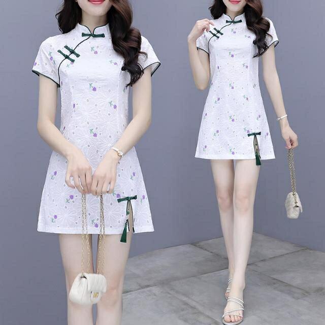 2021年新款夏季小個子復古改良版旗袍少女刺繡花朵短袖連衣裙 AG