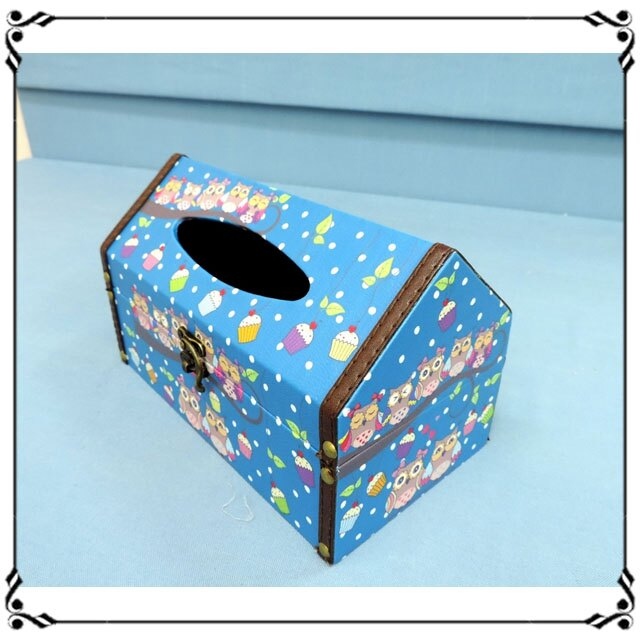 屋型面紙盒《LJ4》ZAKKA 鄉村貓頭鷹皮革面紙盒 木製面紙盒 屋型收納盒◤彩虹森林◥