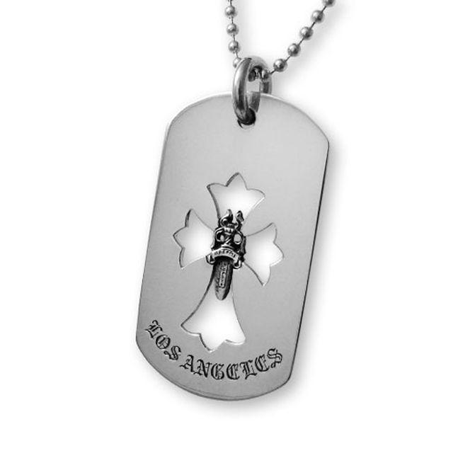 【Chrome Hearts】LA 限定十字架匕首純銀軍牌項鍊 (CHDT-010LA)