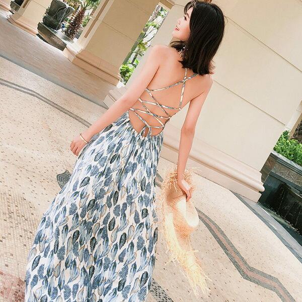PS Mall 沙灘度假仙波西米亞露背連身裙 洋裝【T365】 0