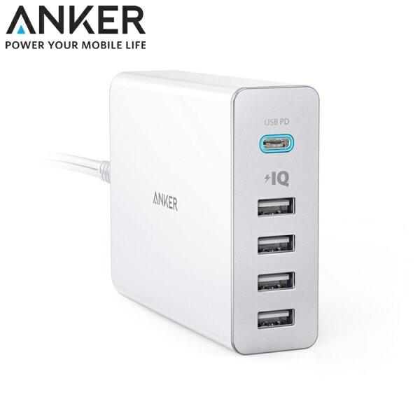 又敗家@美國Anker智慧充電座60W5孔Port座充USB快速充電器PowerIQ壁充電頭Type-c筆電充電座