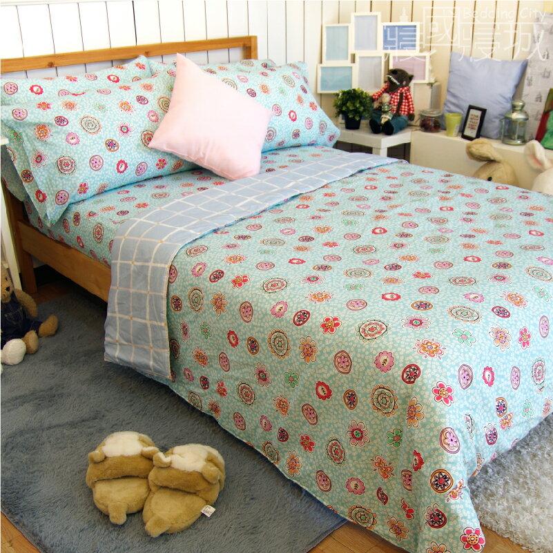 加大雙人床包涼被4件組-花樣格紋 【精梳純棉、吸濕排汗、觸感升級】台灣製造 # 寢國寢城 1