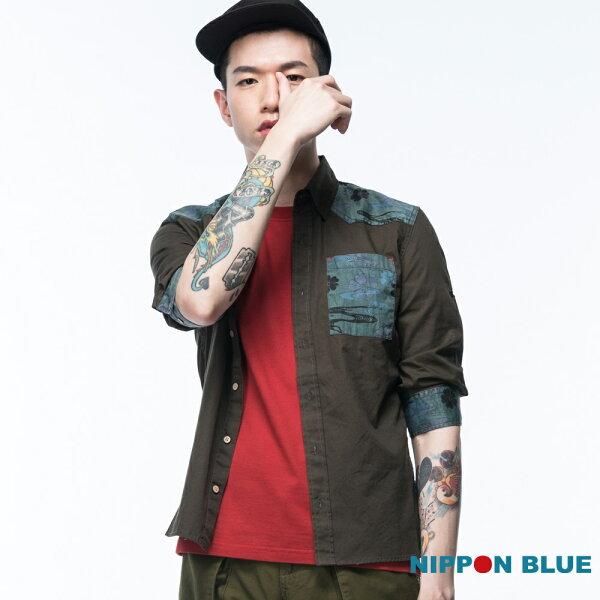 【限時5折】迷彩拼接七分袖襯衫(墨綠)-BLUEWAYNIPPONBLUE日本藍