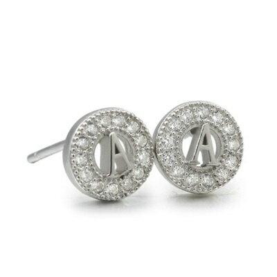 ~925純銀耳環鑲鑽耳飾~ 大方唯美百搭情人節 女飾品2色73dm99~ ~~米蘭 ~