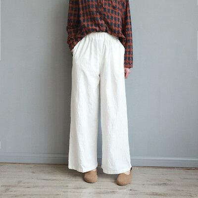 韓系女裝復古棉麻休閒褲子純色九分闊腿褲樂天時尚館。預購。[全店免運]