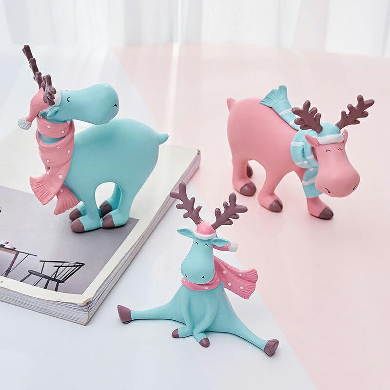 北歐ins風小鹿動物禮物件奶茶店辦公桌書桌面車內飾品擺件裝飾品SGBS3 愛尚優品