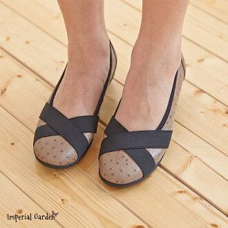 [IG御庭園]8510特殊鴕鳥壓紋交叉緞帶類芭蕾(輕量化娃娃鞋舞鞋休閒輕便懶人鞋好穿舒適)(MIT台製真皮鞋材)AA