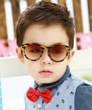 Kocotree◆潮流 豹點純色金屬鏡架兒童防紫外線護目太陽眼鏡~黃豹紋