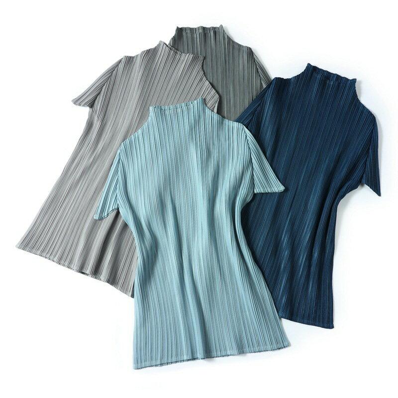 短袖T恤褶皺上衣-高領修身輕薄高彈力女裝5色73zs11【獨家進口】【米蘭精品】