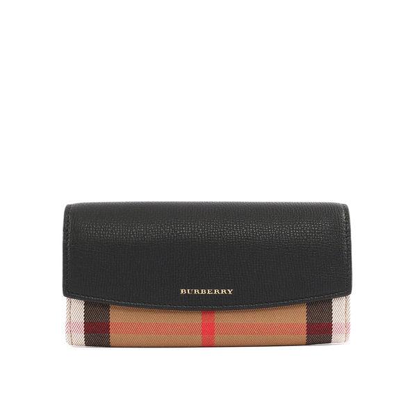 【BURBERRY】HOUSE格紋拼皮革壓釦長夾(黑色)3955506 00100