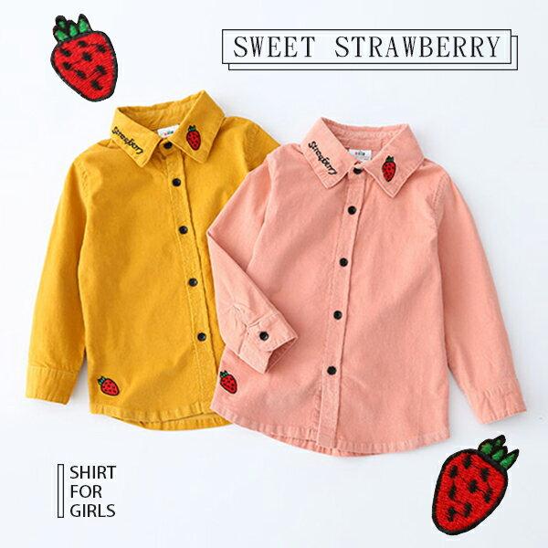 草莓字母刺繡排釦素色長袖襯衫0904(粉黃)【K12503】