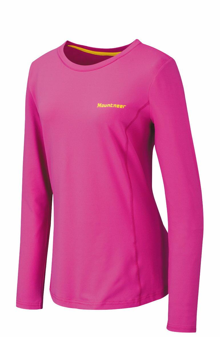 【【蘋果戶外】】山林 21P26-33 桃紅 Mountneer 女 透氣排汗長袖上衣 吸濕排汗衣 防曬 抗UV 彈性