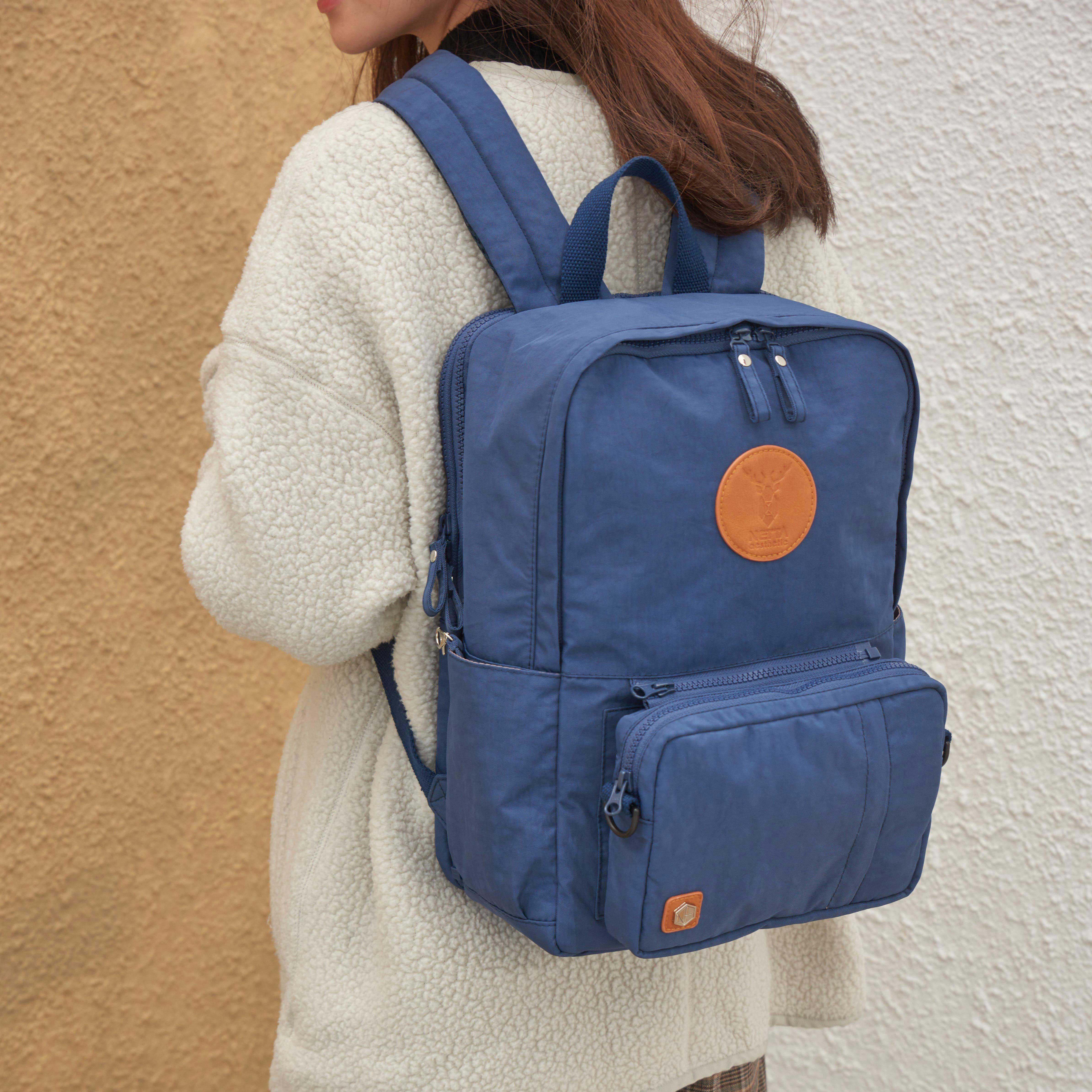 防潑水多功能後背包 / 深藍 / 尺寸M號 / 電腦包可拆卸【NETTA】 5