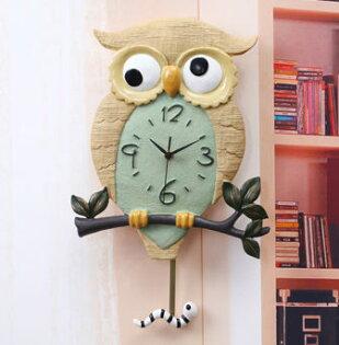 可愛創意Owl掛鐘創意家居裝飾品兒童房客廳臥室可愛壁鐘