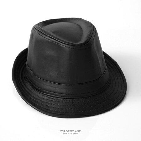 紳士帽 英倫黑色皮革紳士帽 柒彩年代【NMB1】