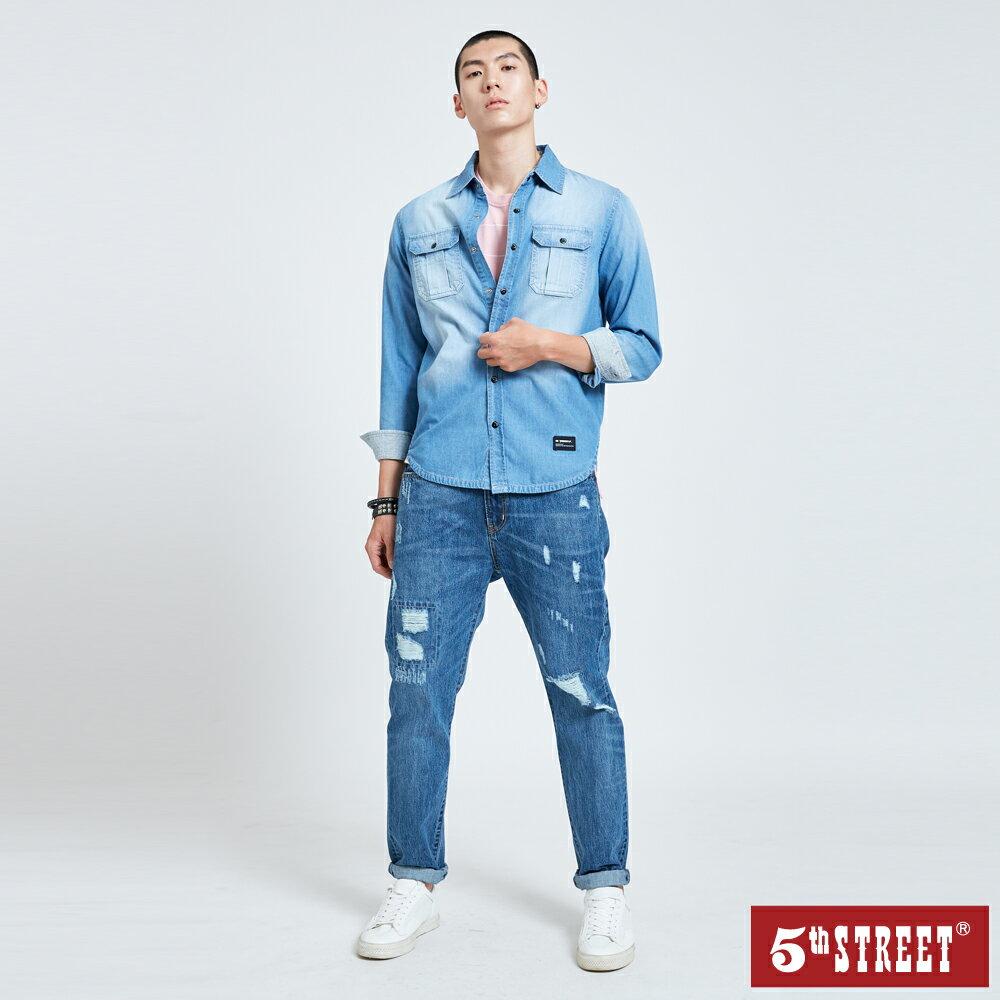 【5th STREET】男貼袋牛仔襯衫-拔洗藍 1