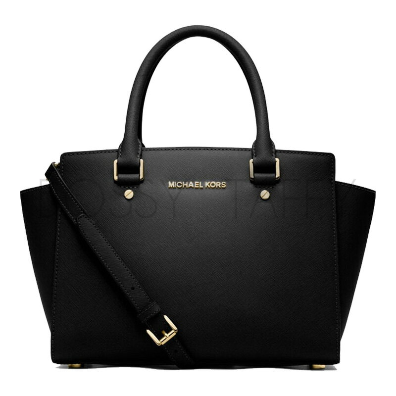 MICHAEL KORS 30S3GLMS2L 黑色皮革中號手提斜背梯型托特包 Selma Saffiano Leather Medium Satchel black