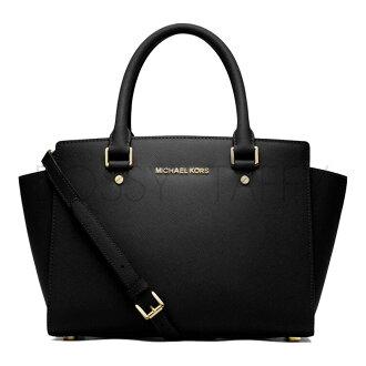 MICHAEL KORS 30S3GLMS2L 黑色皮革中號手提斜背梯型托特包 Selma Saffiano Leather Medium Satchel black