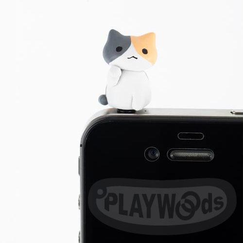 ~Playwoods~ 手機 耳機塞 IPHONE4  4S:貓咪 防塵塞5號~招財 米克
