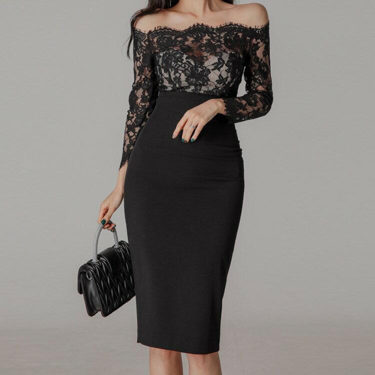 2021早春新款韓版拼接蕾絲一字肩晚禮服女氣質露背開叉連衣裙