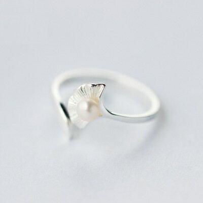 925純銀戒指珍珠開口戒~精美優雅銀杏花朵情人節生日 女飾品73dt195~ ~~米蘭 ~