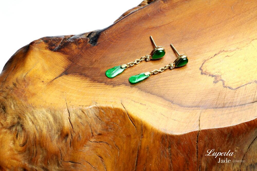 大東山珠寶 迷人律動 天然緬甸老坑玻璃種A貨翡翠 頂級真鑽14K金耳環 2