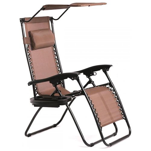 Superbe New Brown Zero Gravity Chair Lounge Patio Chairs Outdoor With Canopy Cup  Holder H043 1
