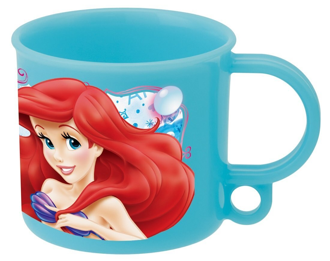 X射線【C361869】小美人魚日本製塑膠杯200ml(單把.藍綠),水杯/馬克杯/杯瓶/茶具/湯杯/玻璃杯/不鏽鋼杯