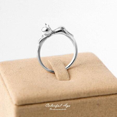 925純銀戒指 韓系立體可愛慵懶貓咪造型尾戒 抗過敏材質 甜美風格 柒彩年代【NPC13】活潑俏皮
